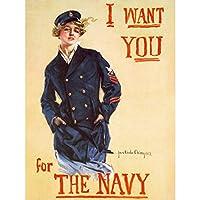 Christy WWI War US Navy Enlist Recruit Women Advert Large XL Wall Art Canvas Print キリスト戦争海軍参加者リクルート女性たち広告壁