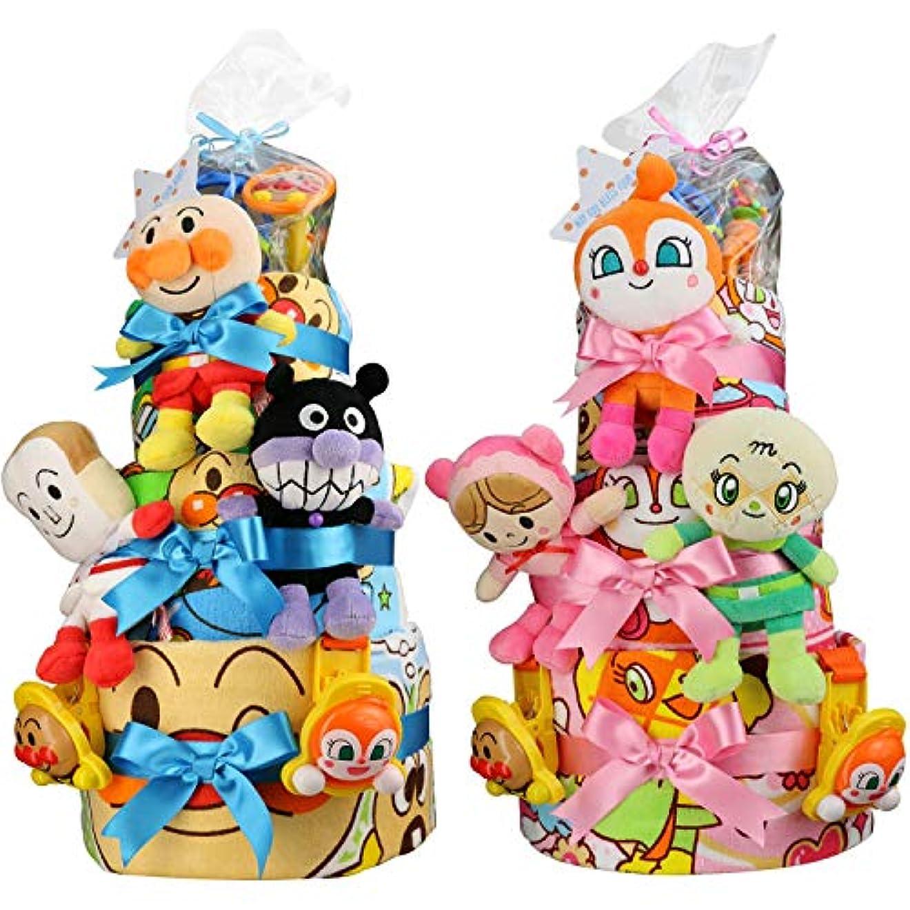 好む些細暗いセガトイズ 出産祝い アンパンマン 超豪華3段 おむつケーキ おもちゃ (パンパーステープタイプSサイズ, 男の子向け(ブルー系))