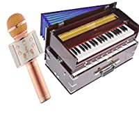 Makan Musicals 3½ Octave Portable, Traveler, Baja, 9 Stops (4 Drone), Two Set Reed- Bass/Male, Dark Color, Gig Bag, Tuning: 440 Hz, Bhajan, Kirtan, Mantra Hand Pumped Harmonium