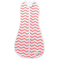 Woombie Original One-Step Baby Swaddle ~ Coral Chevron (Newborn 5-13 lbs) by Woombie