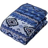 京都西川 あったか 敷パッド やわらかな肌触り キリム柄 ブルー シングル 100×205 2AJC7551