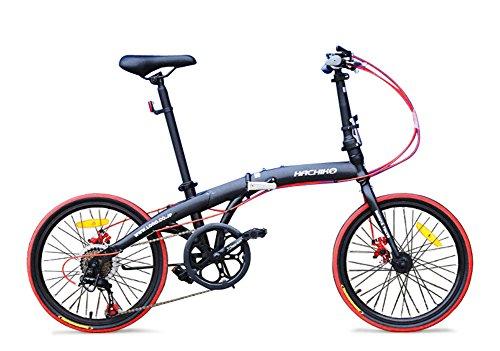 ハチコHACHIKO高炭素鋼折り畳み自転車SHIMANOシマノ7段変速 20インチ[98%完成品]HA02 (Black)