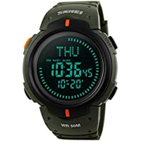 BesWlz Mens Military Digital Sport Watch Waterproof LED Back Light Alarm Stopwatch with Compass 50M Water Resistant (Green)