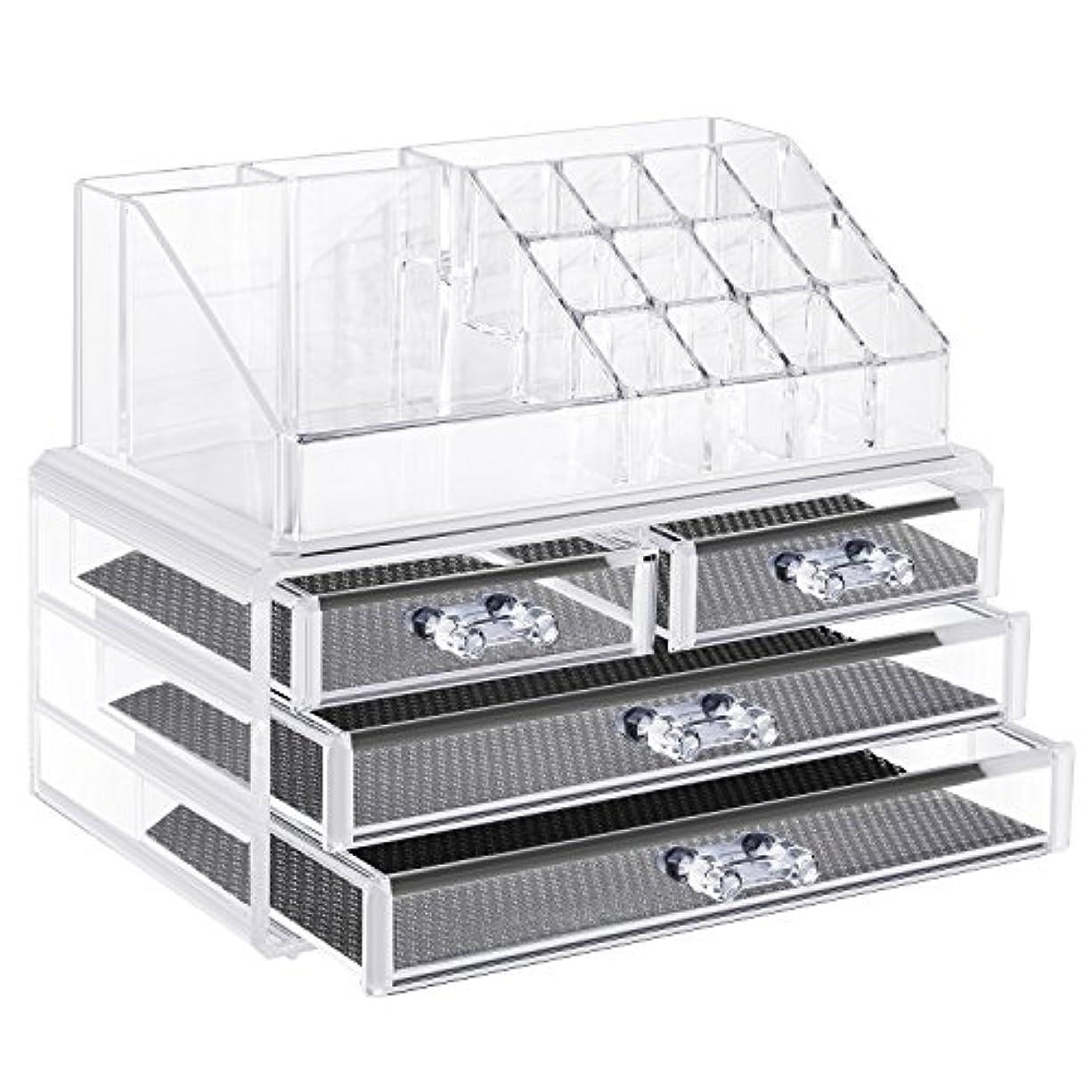 弾薬備品細菌Neewer ジュエリーと化粧品収納ボックス 化粧パレット収納引き出し 仕切り 透明なアクリル製
