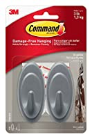 (8 Hooks, Graphite) - Command Graphite Terrace Hook, 2-Hook, 4-Pack