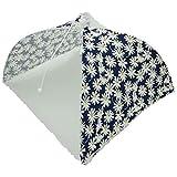 折りたたみ 式 食卓 フード カバー ホコリ 虫よけ キッチン パラソル 傘 (ネイビー フラワー 36x36x23)