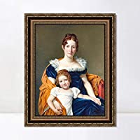 """INVIN ART Framed Canvas Art Giclee Print Portrait of the Comtesse Vilain XIIII and her Daughter by Jacques Louis David Wall Art Living Room Home Office Decorations(Vintage Embossed Gold frame,24""""x32"""")"""