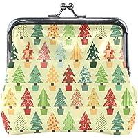 がま口 財布 口金 小銭入れ ポーチ クリスマスツリー 松 Jiemeil バッグ かわいい 高級レザー レディース プレゼント ほど良いサイズ