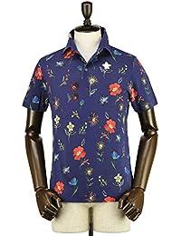 ZANONE ザノーネ メンズ 花柄 アイスコットンピケ 鹿の子ポロシャツ POLO MC 811818 ZJ314 Z3721 (ネイビー)