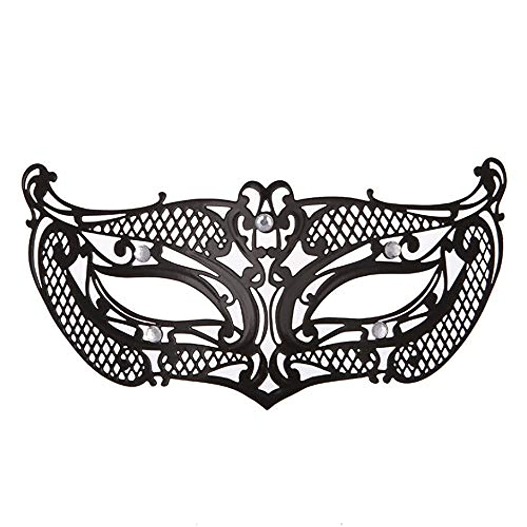 迫害見出し動かすダンスマスク アイアンメタリックレースとダイヤモンドハーフマスクハロウィンダンスマスクナイトクラブボールマスクコスプレパーティーハロウィンマスク ホリデーパーティー用品 (色 : ブラック, サイズ : 19x8cm)