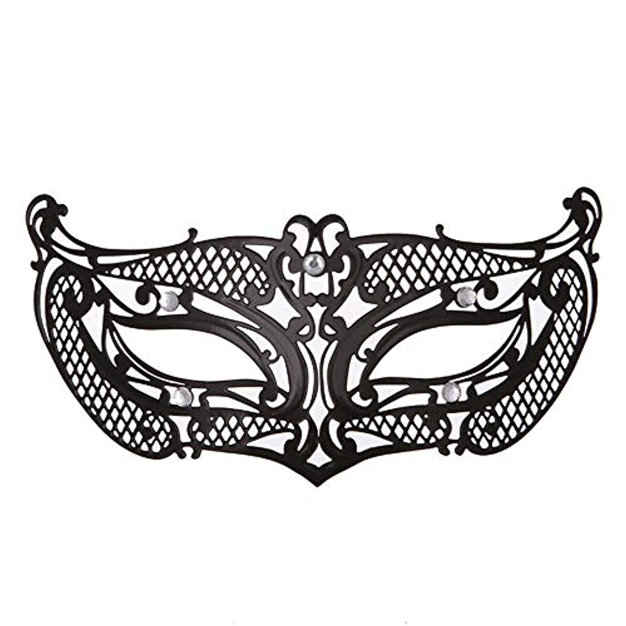 おもちゃリー歪めるダンスマスク アイアンメタリックレースとダイヤモンドハーフマスクハロウィンダンスマスクナイトクラブボールマスクコスプレパーティーハロウィンマスク ホリデーパーティー用品 (色 : ブラック, サイズ : 19x8cm)