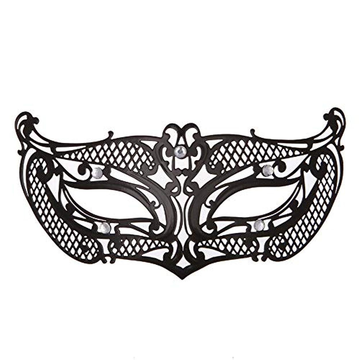 災害祖母器官ダンスマスク アイアンメタリックレースとダイヤモンドハーフマスクハロウィンダンスマスクナイトクラブボールマスクコスプレパーティーハロウィンマスク ホリデーパーティー用品 (色 : ブラック, サイズ : 19x8cm)