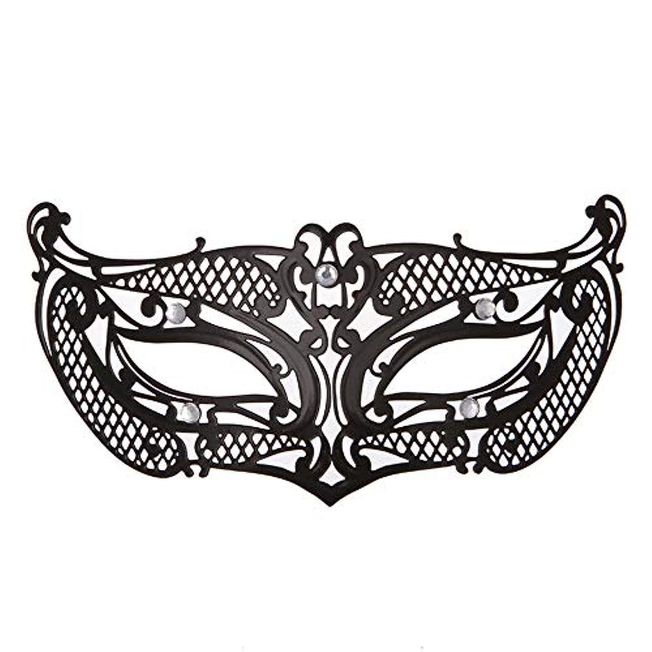 不適当ルネッサンス勝者ダンスマスク アイアンメタリックレースとダイヤモンドハーフマスクハロウィンダンスマスクナイトクラブボールマスクコスプレパーティーハロウィンマスク ホリデーパーティー用品 (色 : ブラック, サイズ : 19x8cm)