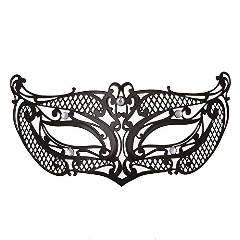 発音占めるリングレットダンスマスク アイアンメタリックレースとダイヤモンドハーフマスクハロウィンダンスマスクナイトクラブボールマスクコスプレパーティーハロウィンマスク パーティーボールマスク (色 : ブラック, サイズ : 19x8cm)