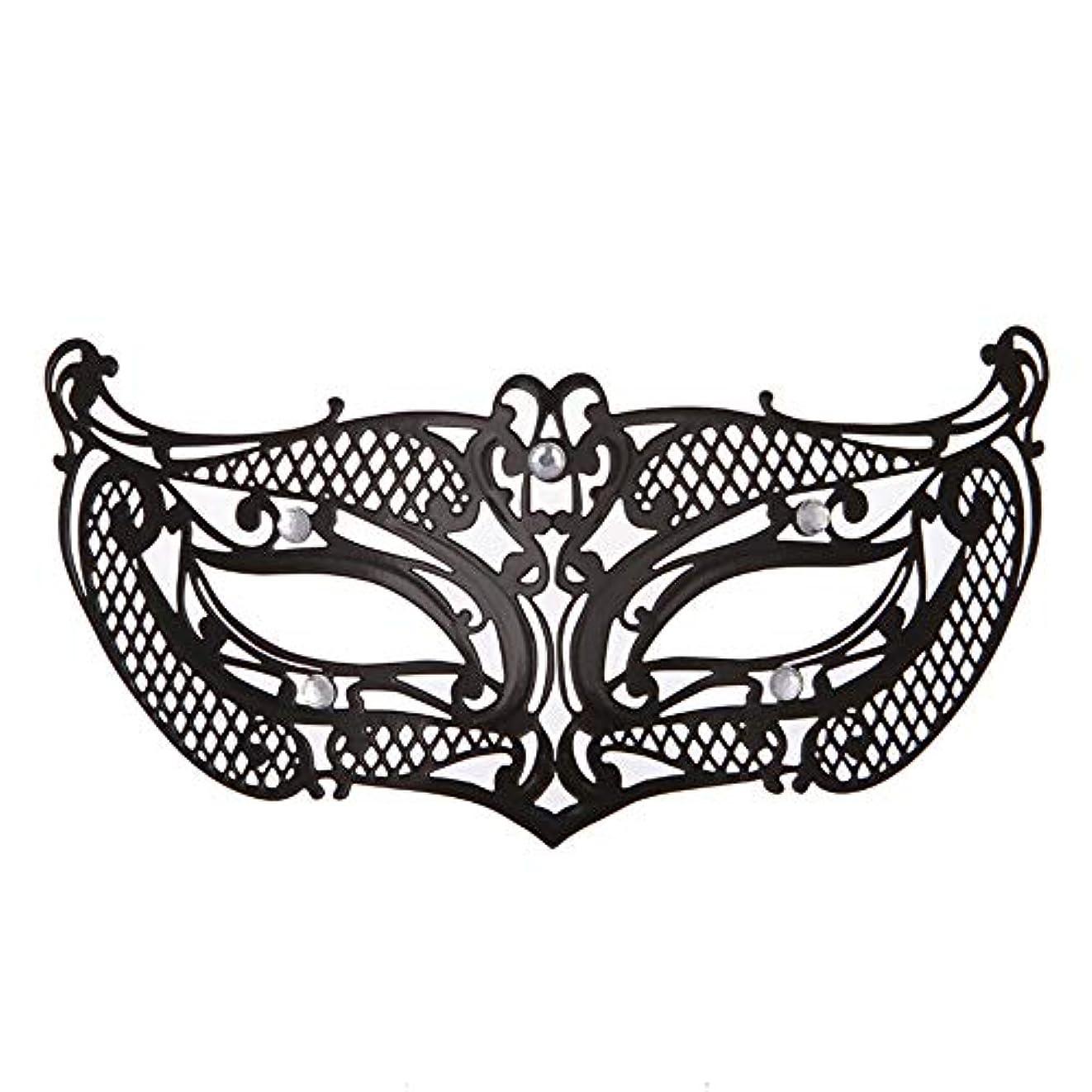 ダンスマスク アイアンメタリックレースとダイヤモンドハーフマスクハロウィンダンスマスクナイトクラブボールマスクコスプレパーティーハロウィンマスク ホリデーパーティー用品 (色 : ブラック, サイズ : 19x8cm)