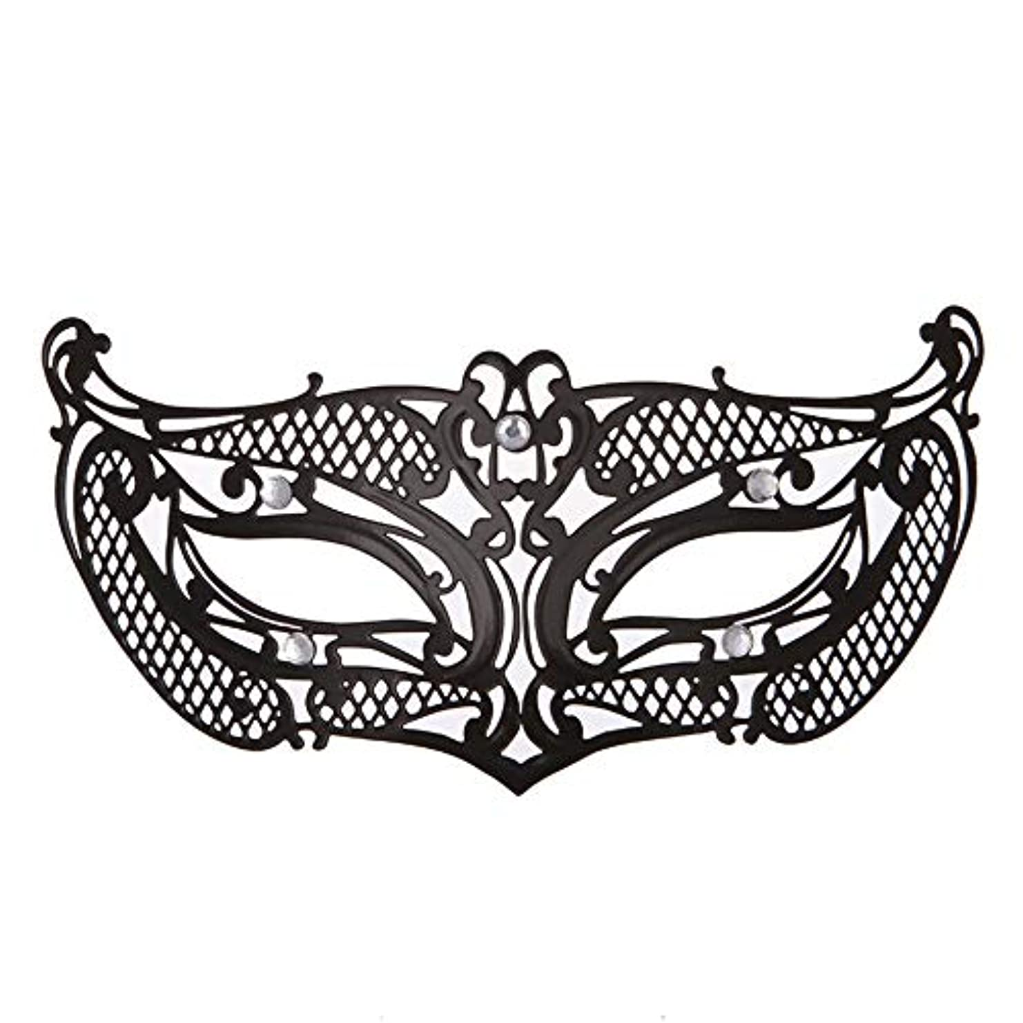 地獄緯度交差点ダンスマスク アイアンメタリックレースとダイヤモンドハーフマスクハロウィンダンスマスクナイトクラブボールマスクコスプレパーティーハロウィンマスク ホリデーパーティー用品 (色 : ブラック, サイズ : 19x8cm)
