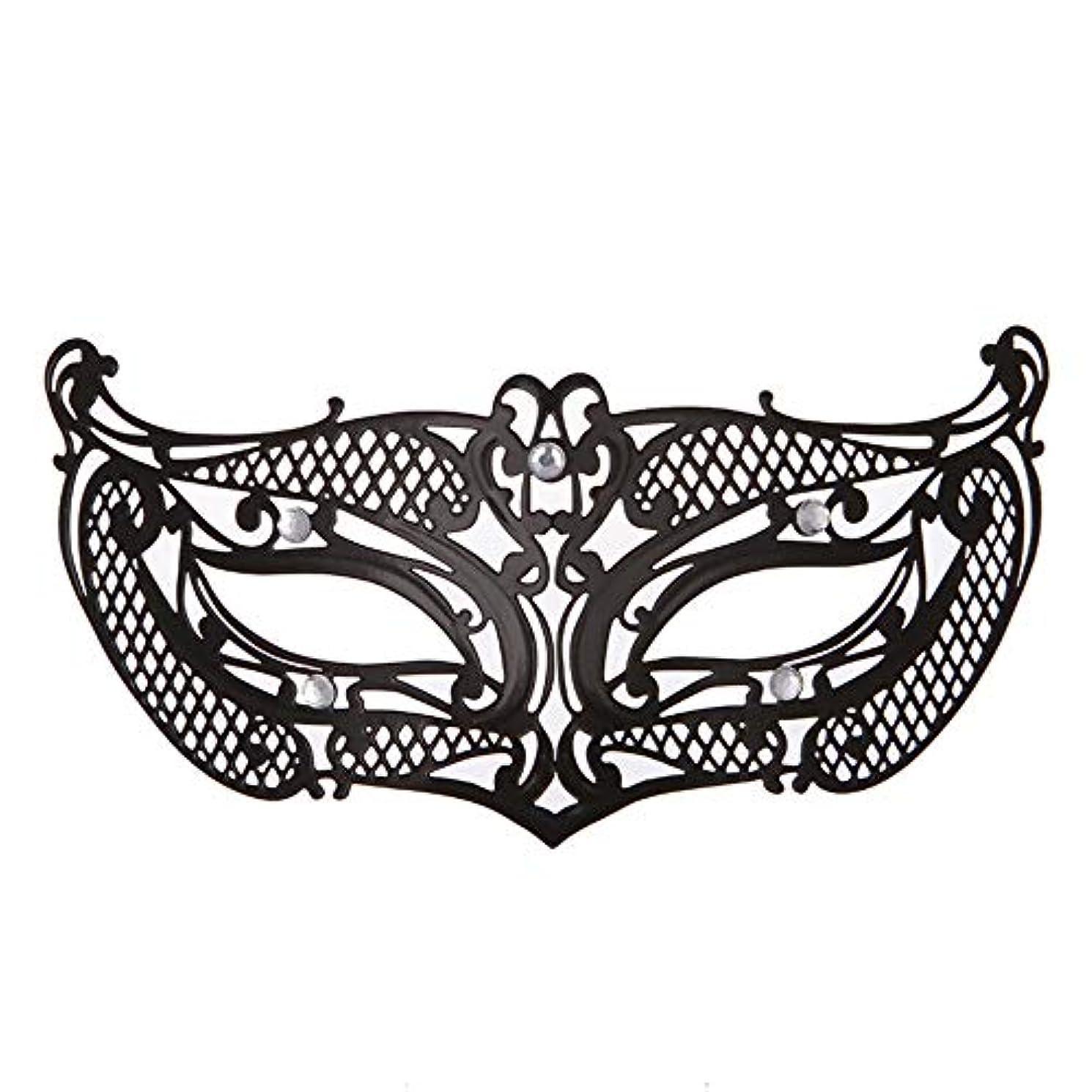 コードレスくびれた精査ダンスマスク アイアンメタリックレースとダイヤモンドハーフマスクハロウィンダンスマスクナイトクラブボールマスクコスプレパーティーハロウィンマスク ホリデーパーティー用品 (色 : ブラック, サイズ : 19x8cm)