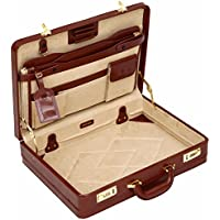 Tassia Medium Leather Briefcase - Luxury Suede Interior and Twin Combination Locks