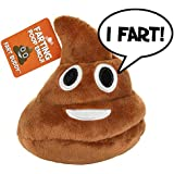 Poop Emoji Farting Plush Toy - Makes 7 Funny Fart Sounds - Drop, Plop or Throw to Activate & Hear Him Fart - Super Fun for Kids, Tweens or Teens That Love Poop Games, Emojis & Farts