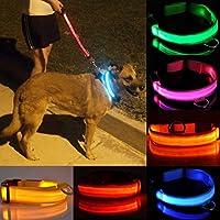 調整可能なLEDライト点滅反射犬の首輪ルミナス安全ナイロン8カラーXS、S、M、L、XL、卸売:ブルー、XSを