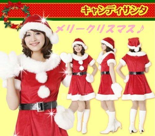 5902ae08b4b49 ☆X mas クリスマス サンタクロース 衣装 レディース サンタワンピース ベルト 帽子 ふわふわ手袋 4点 フルセット サンタクロース 女性用  フリーサイズ Xmas クリス.