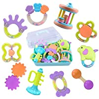 Baby Rattles Teether、ボールShaker、Grab and Spin Rattle、ミュージカルおもちゃギフトセットforベビー乳児、新生児–iPlay、iLearn オレンジ AC-RATT-120