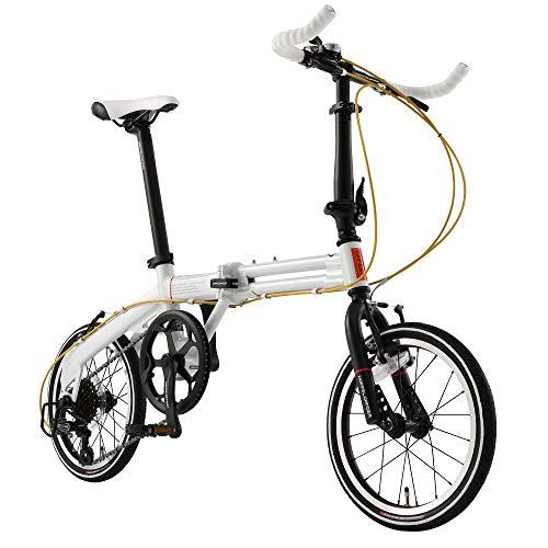 ドッペルギャンガー(DOPPELGANGER) 16インチ 折りたたみ自転車 [パラレルツインフレーム] シマノ7段変速 アルミニウム製 52T ホワイトxブラック 104-R-WH