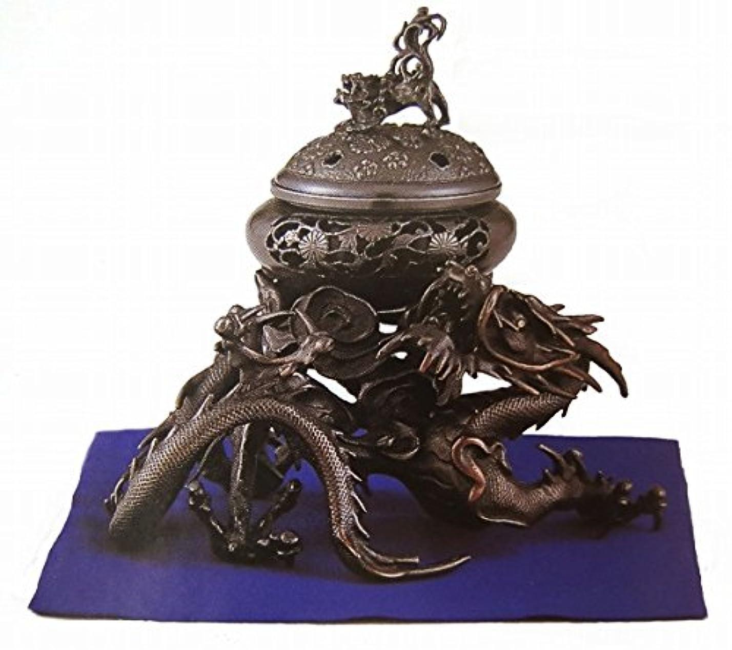 格差アセ強調する『吉祥龍香炉』銅製