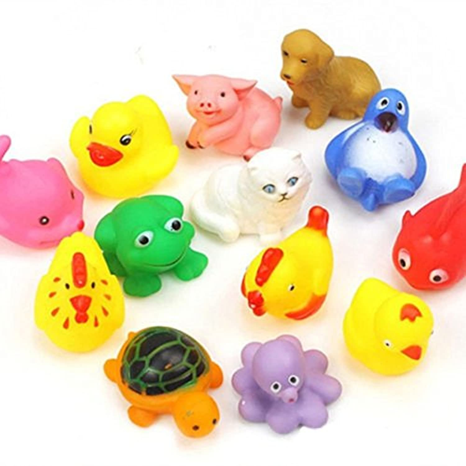 13pcs Cute Soft Rubber Float Sqeeze Sound Baby Wash Bath Toys Play Toys Animals Toys (Random colors and patterns) by Broadfashion