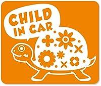imoninn CHILD in car ステッカー 【マグネットタイプ】 No.53 カメさん (オレンジ色)