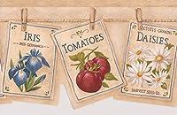 RetroArt 花野菜がブックページは服ライン壁紙ボーダーレトロなデザインに掛かって、ロール15' X 6.78
