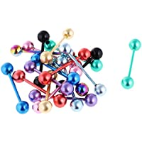 Dolity 18Pcs Mixed Tongue Rings Jewellery Tounge Eyebrow Barbell Bar