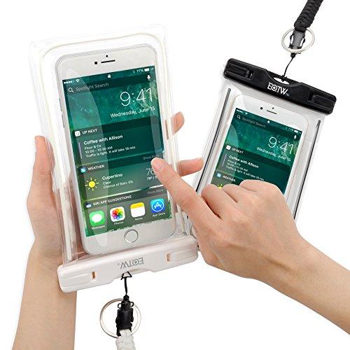 iPhone7/iPhone6s 防水ケース EOTW® 防水携帯ケース アウトドア ダイビング 温泉 釣り お風呂 水泳 砂浜 水遊び等に最適な防水袋、スマホケース・カバー 救助用ネックストラップ付属 防水国際保護等級:IPX8認定獲得 iPhone 7 Plus/6sPlus、Galaxy Note7/S7edge、Xperia Z5/Z4、Nexusなど、ほぼ全機種対応 スマートフォン用防水・防塵ケース (黒+白(二枚セット))
