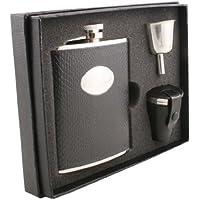 Visol VSET27-1204 Corspa Black Snakeskin Design 6 oz Deluxe Flask Gift Set