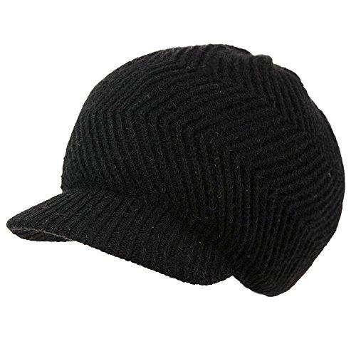 (シッギ)Siggi ウール フリーサイズ キャスケット つば付きニット帽 防寒帽 ニットキャップ レディース 秋冬 小顔効果 帽子 黒