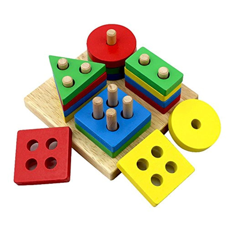 OXoqoキッズ教育Preschoolカラー形状認識玩具木製幾何ボードブロックスタックソートChunky子供パズルおもちゃ