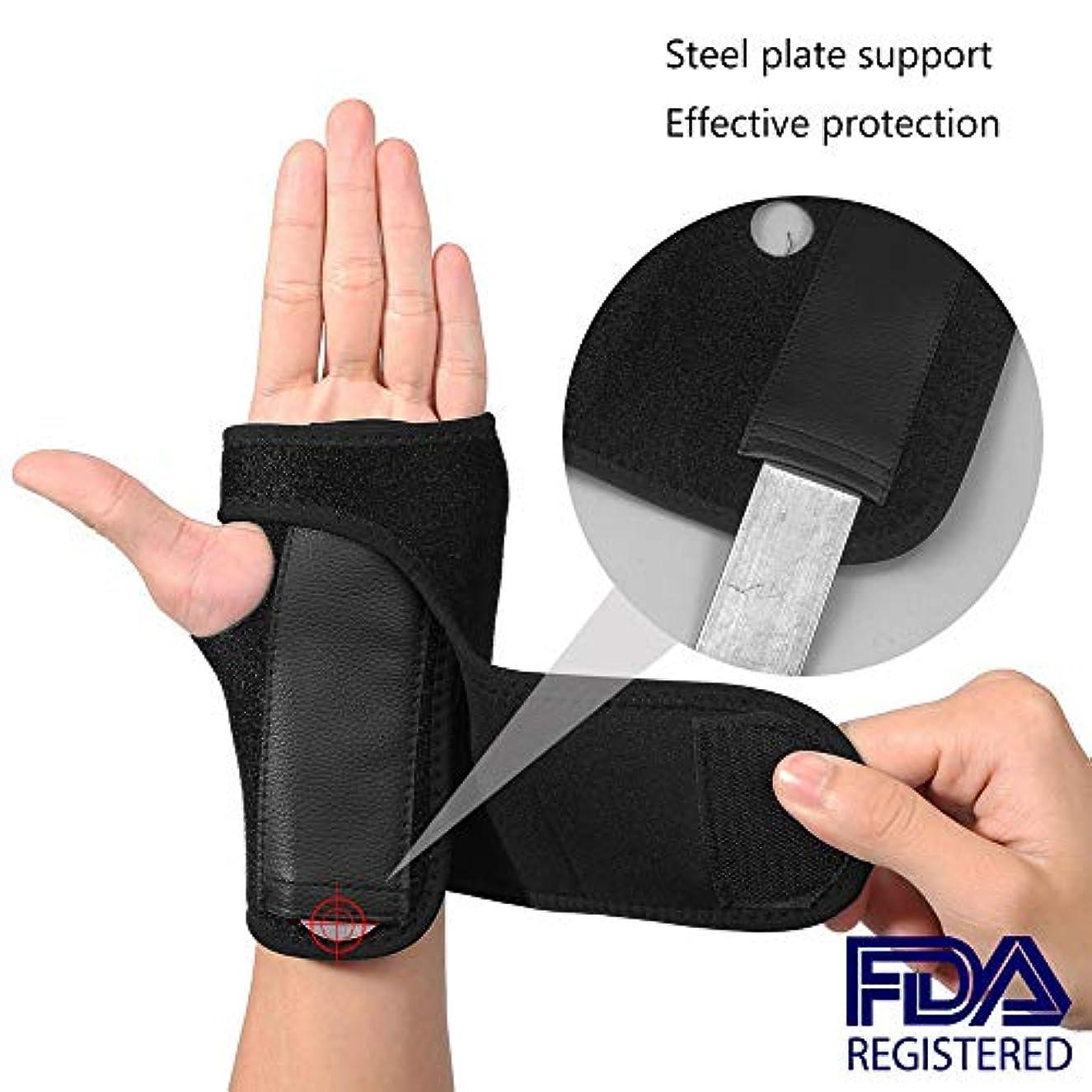 メナジェリー目に見える噛む手首のサポート-調節可能なブレースストラップバンド-右手と左手で手根管、手首の関節炎の痛み、捻rain、疲労を和らげます