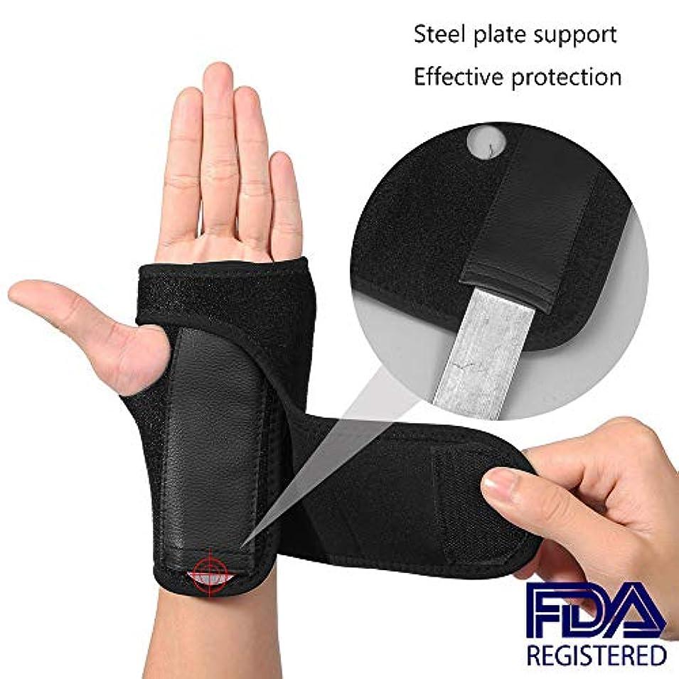 特許誇大妄想からに変化する手首のサポート-調節可能なブレースストラップバンド-右手と左手で手根管、手首の関節炎の痛み、捻rain、疲労を和らげます