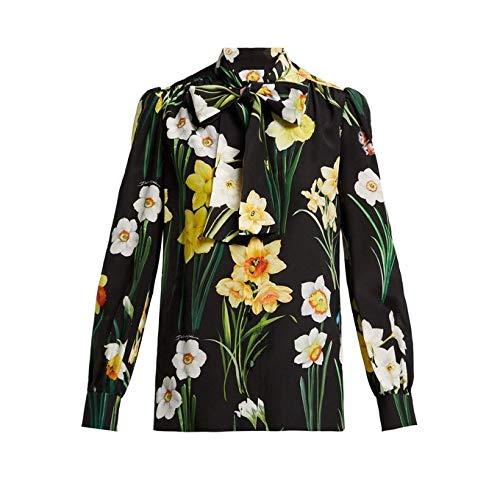 (ドルチェ&ガッバーナ) Dolce & Gabbana レディース トップス ブラウス・シャツ Daffodil-print silk crepe de Chine blouse [並行輸入品]