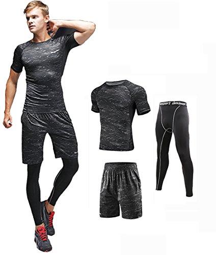 上下セット メンズ 半袖 セットアップ スポーツ ウェア グレー L