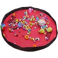 GZQ おもちゃマット レゴマット おもちゃ収納バッグ おもちゃ収納袋 ベビー玩具収納袋 直径150cm 子どもプレイマット 片付け 収納袋 特大サイズ 片づけ簡単 (レッド)