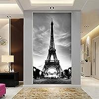 Bzbhart テレビの背景装飾画、壁用ステッカー壁紙現代のカスタム家の装飾3Dエッフェル塔リビングルームエントランス廊下コラージュ装飾レストラン-120cmx100cm