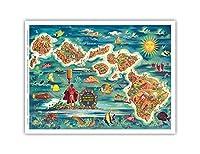 ハワイ諸島のドール地図 - ハワイアン・パイナップル・カンパニーから - ビンテージカラーの地図製作のマップ によって作成された ジョセフ・フェーヘル 1022 - アートポスター - 23cm x 31cm