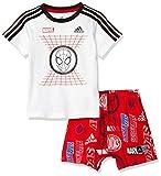[アディダス] 上下セット トレーニングウェア MARVEL スパイダーマン Tシャツ&ハーフパンツ FYH93 [ジュニア] キッズ ホワイト/ブラック/スカーレット (ED6450) 日本 90 (日本サイズ90 相当)