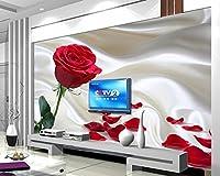壁紙の写真3D シルクローズ花びらのテレビソファGlistening壁の壁の壁画壁の壁画 カスタマイズサイズ シルク生地 Wapel 430X280Cm(169.29X110.24 In)