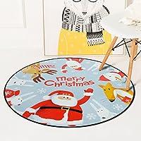 [QIFENGDIANZI]円形ラグ カーペット チェアマット 北欧 滑り止め 洗える 低反発 防音 おしゃれ 柔らか 抗菌防臭 床暖房対応 寝室 リビングルーム 子供部屋 耐摩耗性 クリスマス 可愛い 80*80cm