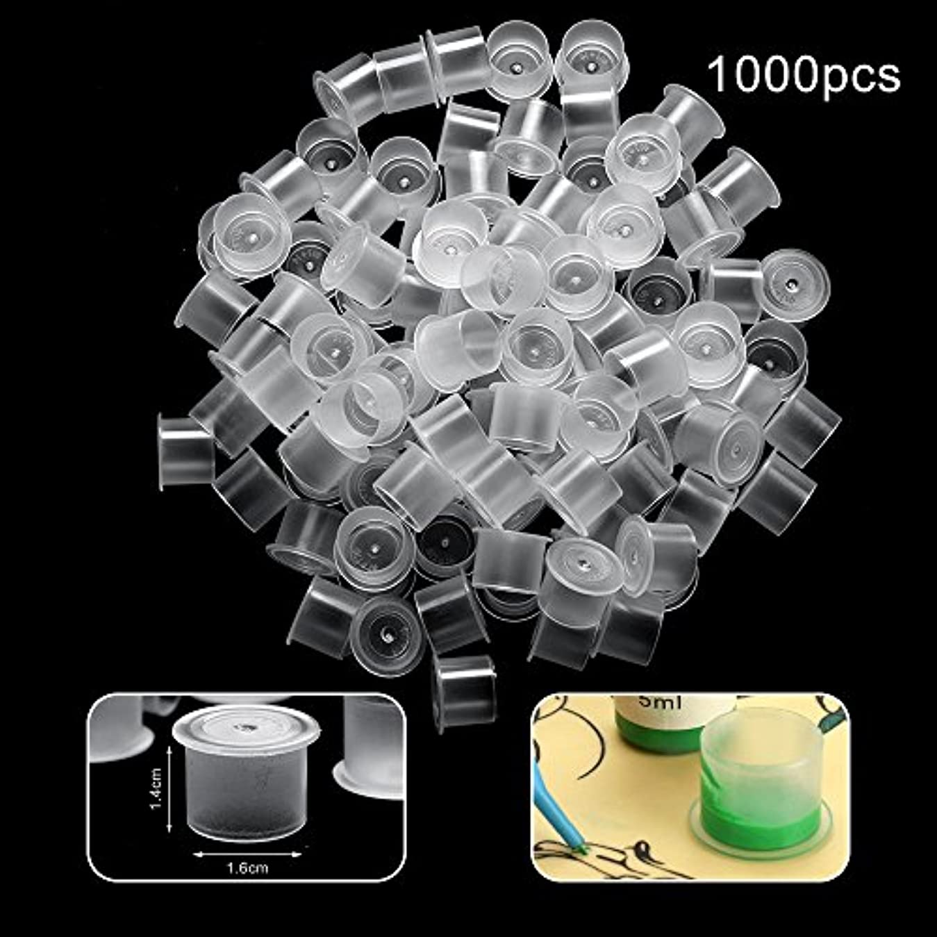 報告書仕出しますシェルターATOMUSタトゥーインクキャップ 使い捨て顔料インクカップ 永久的な眉毛入れ墨ピグメントコンテナ 100個-500個-1000個セット 大中小 3サイズ (1.4*1.6cm 大 1000pcs)