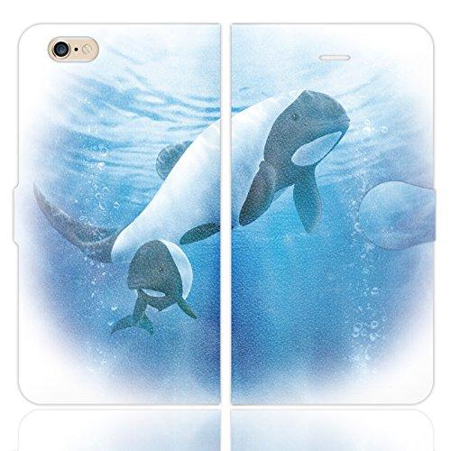 iPhone6S iPhone6 手帳型 ケース カバー イロワケイルカの親子 アマミ藤奈 イラスト イルカ オルカ キラーホエール パンダ 海 綺麗