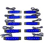 12V 6連 LED ライト サイド マーカー ランプ 10個 セット ホワイト アンバー レッド ブルー グリーン トラック ダンプ カー トレーラー デコトラ 等 カスタム パーツ (ブルー)