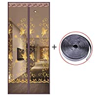 HUYYA フレンチドアの防虫網ドア、ハンズフリー磁気カーテン ドア 磁気スクリーン 自動式,Brown_34x84in/85x210CM